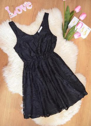 Cubus гепюровое черное платье с открытой спинкой