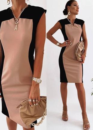Платье женское летнее нарядное легкое длинное до колена черное бежнвое