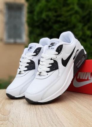 Женские кожаные повседневные кроссовки найк аир макс 90🆕nike air max 90🆕черно-белые