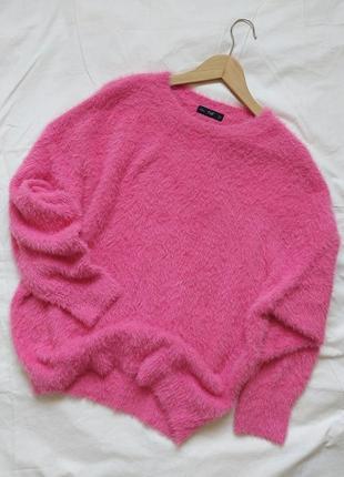 Очаровательный нежно - розовый,  пушистый свитер