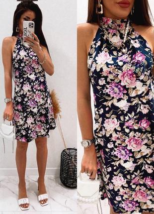 Платье женское летнее нарядное легкое мини короткое цветочное синее
