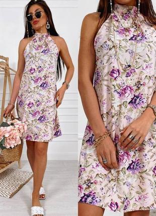 Платье женское летнее нарядное легкое мини короткое цветочное розовое