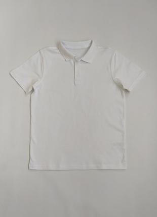 Белая котоновая футболочка поло фирмы джорж на 11-12 лет