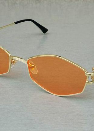Versace стильные солнцезащитные очки унисекс оранжевые в золотой металлической оправе