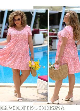 Платье женское летнее батал нарядное легкое мини короткое цветочное
