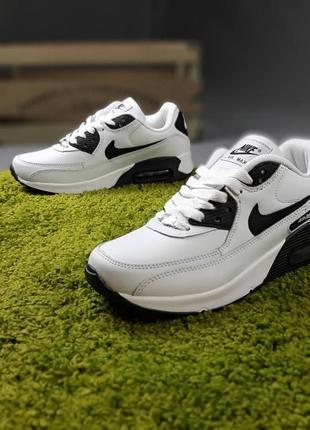 Женские кроссовки nike air max 90 белые с чёрным