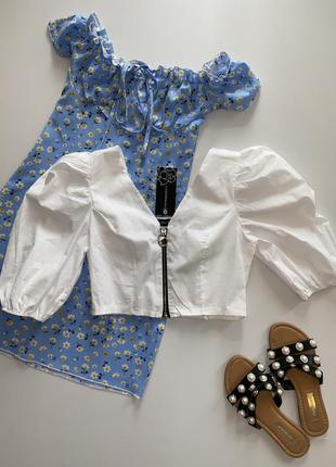 Белая хлопковая блузка с объёмным рукавом