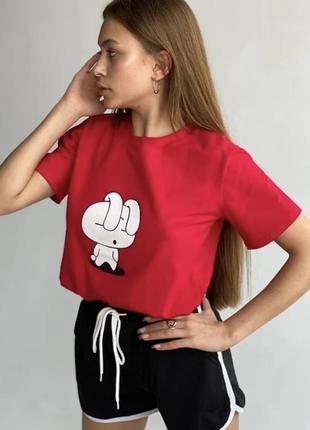Костюм женский спортивный шорты футболка майка с принтом на резинке