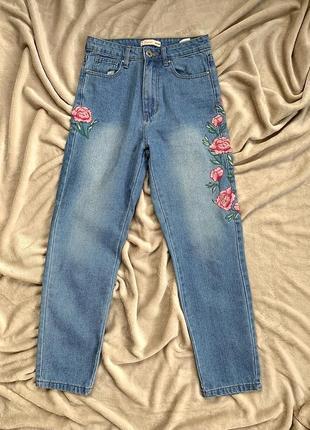 Mom джинсы с высокой талией / mom джинси з високою талією