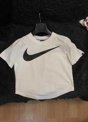 Футболка женская топ топик белая бежевая nike топік жіночий футболка - поло найк біла