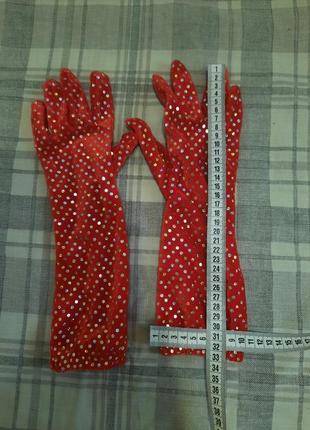 Перчатки красные с блёстками