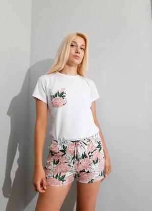 Пижама шорты футболка хлопок принт цветы