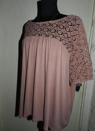 Очаровательная,трикотажная блузка с кружевом,большого размера,германия