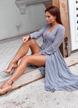 Шифоновое женское платье с рюшами, миди, серое в мелкий горошек