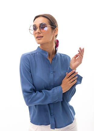 Льняная женская рубашка с воротником-стойкой