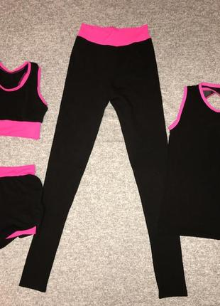 Костюм четверка ( топ, майка, двойные шорты и лосины) для художественной гимнастики