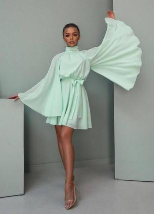 Нежное лёгкое мини платье сарафан свободного кроя с поясом объёмный свободный рукав мари
