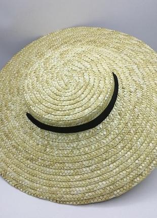 Соломенная шляпа солом'яна с лентой ленточкой черной чёрной мини завязками