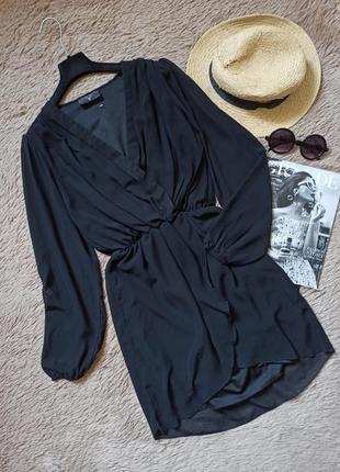 Шикарное черное платье на запах/плаття/сукня