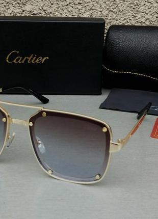 Cartier очки мужские солнцезащитные коричнево голубой градиент в золотом металле