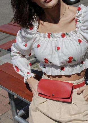 Летняя блузка топ с вишенками