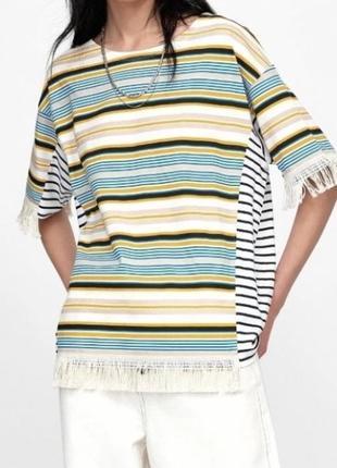 Шикарная необычная футболка zara в полоску с бахромой