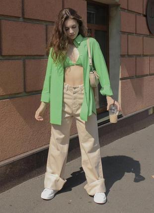 Комплект зелёная рубашка и топ