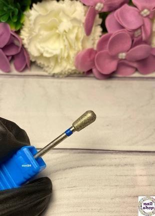 """Алмазная фреза """" груша"""" синяя насечка d=5,0 мм, рабочая часть 9 мм"""