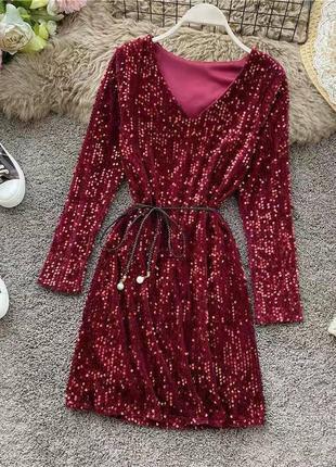 Платье плаття сукня с рукавами паетками пайетками блестящее поясом вечернее стильное модное красивое нарядное