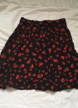 Юбка dorothy perkins чёрная в красные цветы принт и белый горох