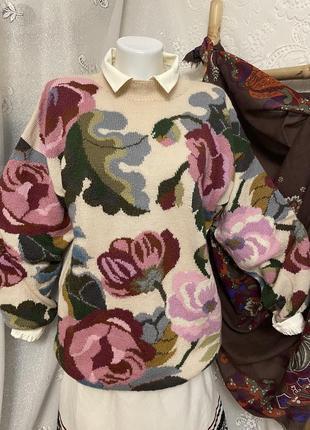 Винтажный шерстяной вязаный пуловер свитер кардиган кофта в цветочный принт объёмные рукава этно