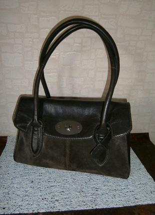 Красивая. стильная сумка из натуральной кожи и замши. clarks