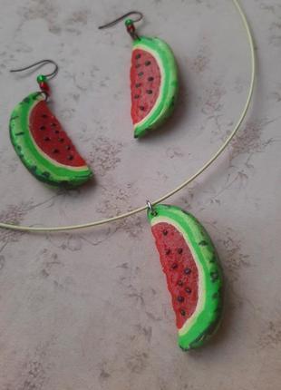 Комплект серьги чокер арбуз полимерная глина hand made лето лот набор ручн раб бижут ягод фрукт