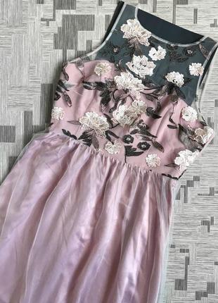 Нюдовое платье в цветы нюд с сеткой с фатином отрезное свадебное вечернее нарядное