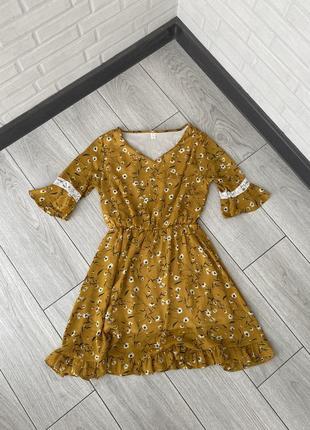 Платье с цветами короткое платье с оборками