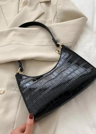 🖤стильная лаковая сумка-багет (2 цвета)🖤