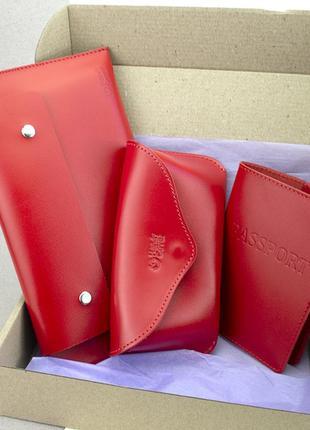 Подарочный женский набор №55: тревел конверт + футляр для очков + обложка на паспорт