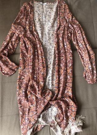 Распродажа!! летний пляжный длинный кардиган накидка кимоно с бахромой