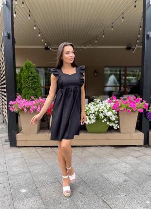 Платье женское летнее легкое мини короткое свободное оверсайз черное