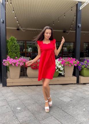 Платье женское летнее легкое мини короткое свободное оверсайз красное
