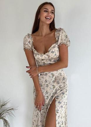 Распродажа платье prettylittlething мелкий цветочек с разрезом в стиле milkmaid asos