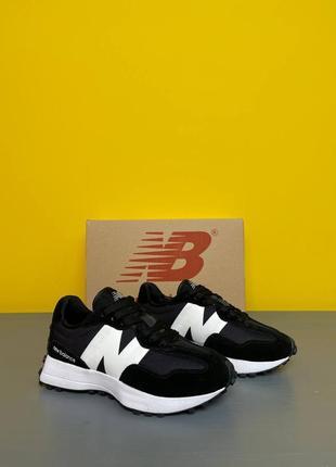 Женские кроссовки new balance 327 black/white, кроссовки замшнвые, жіночі текстильні кросівки