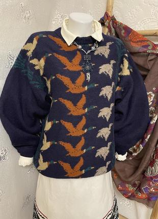 Tulchan экслюзив винтажный шерстяной свитер пуловер кофта украинский мотив гуси лебеди этно оверсайз