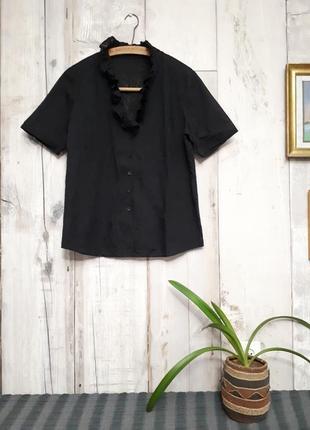 Рубашка с рюшами черная невесомая батал р xl