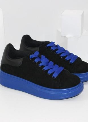 Кроссовки кеды криперы женские черные синие замшевые