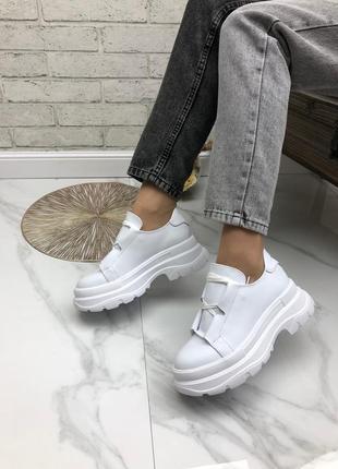 36-41 рр женские кроссовки на высокой платформе белые натуральная кожа