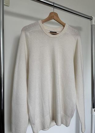 Тёплый шерстяной тоненький свитер  zara man basic italian yarn
