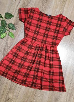 Трендовое клетчатое платье на короткий рукав