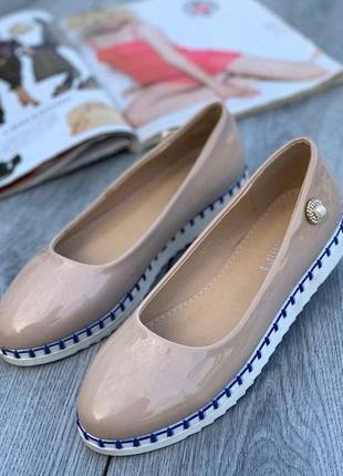 Балетки женские туфли лак