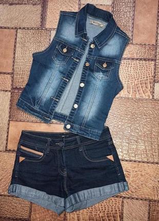 Костюм летний джинсовая жилетка и джинсовые шорты (жилет) oodji xs-s